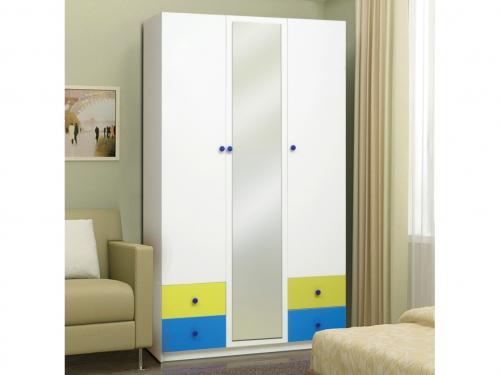 Шкаф 3-х дверный с ящиками и зеркалом Радуга