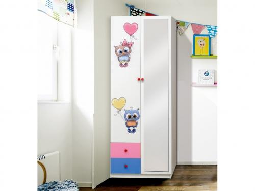 Шкаф 2-х дверный с ящиками и зеркалом Совята 2-2